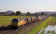 56087 - Hargrave (Andrew Edkins) Tags: 56087 class56 topandtail geotagged rhtt 97304 colasrail light hargrave 3s71 railwayphotography cheshire england winter 2019 november floods fields grid type5 water canon trees morning