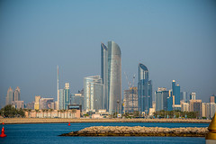 Abu Dhabi Corniche from Emirates Palace Marina Sept 2019 (Bluebullet1) Tags: sunset landscape city water sun sky light outside buildings sea blue colour architecture design outdoor