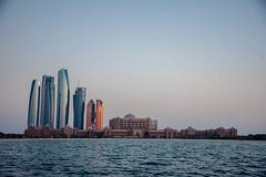 Emirates Palace, Etihad Towers, & Others Sept 2019 (Bluebullet1) Tags: abudhabi uae corniche outside landscape sunset sun water city sky light buildings sea blue colour