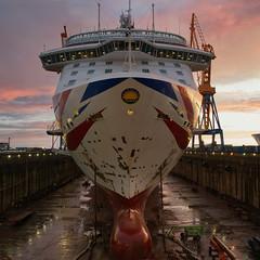 Britannia refit (Rob McC) Tags: britannia po cruises cruiseship drydock damen brest sunset refit goldenhour infrastructure dock