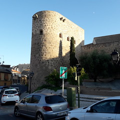 The Albarrana Tower, Torre Almofala,  Toledo (d.kevan) Tags: torrealmofala xiiicentury toledo albarranatower city walls architecturaldetails windows trees plants steps cypresses signs cars citywalls fortifications buildings streetlamps