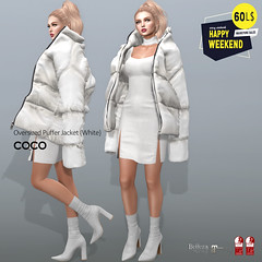 60L$ Happy Weekend @COCO (cocoro Lemon) Tags: coco 60l happyweekend oversized puffer jacket mesh secondlife fashion maitreya slink belleza