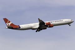 Virgin Atlantic A340-600 G-VWIN at Heathrow Airport LHR/EGLL (dan89876) Tags: virgin atlantic airbus a340 a346 a340600 a340642 gvwin lady luck london heathrow international airprot takeoff runway 09r departure lhr egll