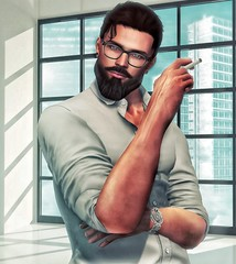 [ 📷 - 161 ] (insociable.sl) Tags: boy sky man male window work beard glasses office model cigarette smoke watch shades sl secondlife worker edit classy workingboy hispter magnificient amitieposes
