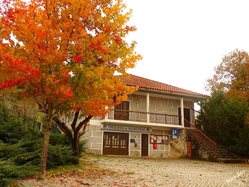 Águas Frias (Chaves) - ... o edifício da Junta de Freguesia em tempo outonal ...