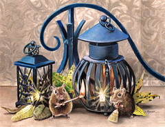 Domestic Bliss (GayleMaurer006) Tags: mice mouse watercolor colored pencil painting lanterns camping candle domestic flame