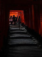 Next wave (Jerzy Orzechowski) Tags: shadows steps people abstract gate torii kyoto japan red