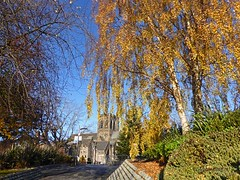 Paisley Abbey1 (g crawford) Tags: paisley renfrew renfrewshire autumn autumnal fall trees leaf leaves yellow gold golden red russet architecture blue sky scotland scottish scots crawford panasonic lumix tz60 abbey church paisleyabbey cluniac medieval churchofscotland