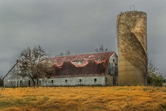 Cement Silo Barn (markburkhardt) Tags: barn grass brown grey sky silo farm abandon antique agriculture winter building