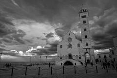 Cathedral of the sea (lucafabbricesena) Tags: cathedral sea trani italy bw blackandwhite cloudysky clouds nikon d800 church puglia apulia water sunset