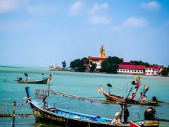Big Buddha from Bangrak Pier, Koh Samui (Bluebullet1) Tags: sea landscape blue outside city water colour boat nature
