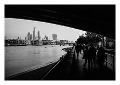 FILM - Bemeath Blackfriars railway bridge (fishyfish_arcade) Tags: 35mm 800asa acros analogphotography bw blackwhite blackandwhite filmphotography filmisnotdead fujifilm istillshootfilm london monochrome olympusom1 zuiko28mmf35 analogcamera film mono pushed londonunderground streetphotography bridge cityoflondon skyscraper riverthames