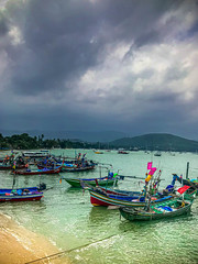 Bangrak Pier, Koh Samui (Bluebullet1) Tags: sea landscape blue outside city water colour clouds light sky boat nature