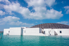 Abu Dhabi Louvre (4) (Bluebullet1) Tags: sea landscape blue outside city water colour clouds light sky louvre design architecture structure shadow
