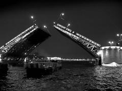 Opening of Bridges (2), Neva River, St Petersburg (Bluebullet1) Tags: sea landscape blue outside city water colour bw blackandwhite