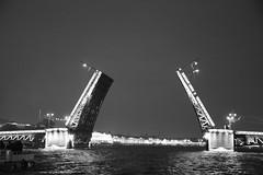 Opening of Bridges, Neva River, St Petersburg (Bluebullet1) Tags: sea landscape blue outside city water colour bw blackandwhite