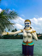 Mermaid Statue, Phra Aphai Mani Big Buddha Beach, Koh Samui (Bluebullet1) Tags: sea landscape blue outside city water colour monument building statue history