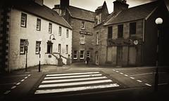 the Crossing (johnny_9956) Tags: crossing road town lerwick shetland blackandwhite bw sepia buildings urban uk scotland canon 7d street