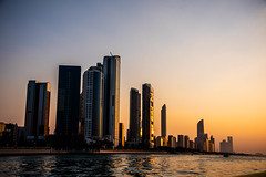 Abu Dhabi Cornice at Sunset Sept 2019 (Bluebullet1) Tags: sunset sun corniche landscape city sea water blue orange outside night colour architecture design outdoor