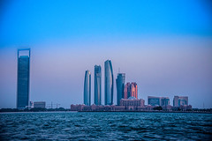 ADNOC, Etihad Towers, Emirates Palace & Others Sept 2019 (Bluebullet1) Tags: sky city outside water landscape blue sea light sunset sun buildings colour