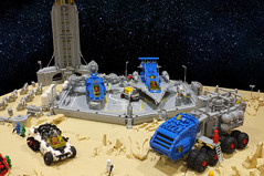 Moonbase (Brizzasbricks) Tags: solar panels moonbase lego classic neoclassic space lunar rover mining landing crater exploration
