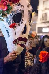 my heart the flower (Super G) Tags: nikon345 diadelosmuertos candid street sanfrancisco mission flower mask