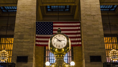 A New York Minute (Paul B0udreau) Tags: newyorkcity nyc usa nikkor1855mm photoshop canada ontario paulboudreauphotography niagara d5100 nikon nikond5100 raw layer grandcentralstation terminal midtownmanhattan clock flag starsandstripes american