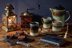 Coffee & Homemade Chocolate Brownies. (memoryweaver) Tags: mug tabletop memoryweaver paraffin kerosene lantern oillamp homemade baking chocolate brownies coffee