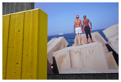 Concrete Bathers (Dave Button) Tags: london southbank haywardgallery street colour color provia yellow blue bathers concrete sky art fuji fujifilm xe2s 27mm xf27mm border photo quality lines geometry juxtapose
