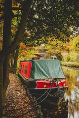 Orton in Autumn II (inkslinger15) Tags: autumn barges basingstoke boats canal colours leaves mytchett reflections trees water