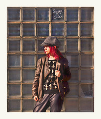 (teddybear--11) Tags: downtown tulsa oklahoma glass bricks building abandoned female woman girl franny red hair hat portrait cool guy jacket yeah photography gimp photo editing color sandra loves chuck graffiti broken window
