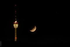 Partial Lunar Eclipse in Stuttgart (jwitzsch) Tags: fernsehturm mond mondfinsternis moon nacht nachtaufnahme stuttgart tvtower witzsch allrightsreserved allerechtevorbehalten copyrightjörgwitzsch gpspublic jwitzsch lunareclipse partial partiell public ©joergwitzsch