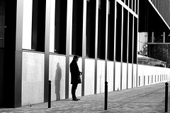 Among the lines (pascalcolin1) Tags: man mur homme paris13 blackandwhite lines wall canon 50mm noiretblanc stripes streetview lignes canon50mm photoderue rayures urbanarte photopascalcolin