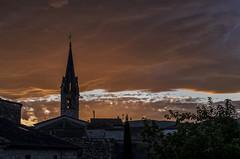 Firey (cliveg004) Tags: berriasetcasteljau auvergnerhonealpes églisesaintjeanbaptiste church spire rooftops france sunset ardeche sky clouds nikon d7500 tamron1024