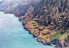 Misty Nā Pali Coast (By Hughes Helicopter) (Trouvaille Blue) Tags: unitedstates hawaii kauai nāpali coast pacific ocean pali seacliffs valley helicopter aerial trouvailleblue mist morning aerialphotography landscape island