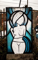 @Coloquix blue stained-glass girl (PDKImages) Tags: graffiti sheffieldstreetart sheffield sheffieldgraffiti streetart urbanart wallporn abandoned attercliffe