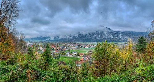 Autumn panorama of Kiefersfelden, the river Inn valley and Zahmer Kaiser mountains in Bavaria, Germany