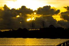 Sunset Behind Clouds (Markus Branse) Tags: sunsetbehindclouds channelisland darwin northernterritory australia channel island northern territory sunset february 2014 hochspannung stromleitung masten hochspannungsmasten hochspannungsmast gaskraftwerk power plant powerstation kraftwerk gas australien mangrove mangroven