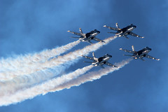 """United States Navy F/A-18C - Blue Angels - """"The Diamond"""" (AndrewC75) Tags: nas pensacola air show 2019 npa airport airplane aircraft aviation usn united states navy blue angels boeing fa18c f18 f18c fa18 diamond smoke sun"""