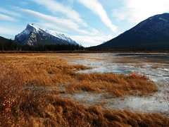 Vermillion Lakes (Mr. Happy Face - Peace :)) Tags: cans2s autumn snowcaps sky clouds lake hiking canada banff art2019