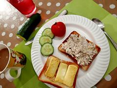 healthy perhaps (DOLCEVITALUX) Tags: cucumber tomatoe grilledcheesesandwich chickensalad lumixlx100 panasoniclumixlx100 panasoniccameras cafeamericano vegetables breakfast meal food