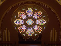 Josaphat's Rose Window (Rev.Gregory) Tags: josaphat basilica roman catholic church milwaukee wisconsin rose window stained glass organ pipes arch evangelists
