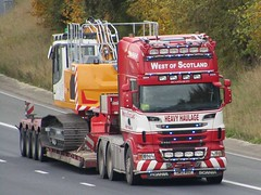 West Of Scotland, Scania R730 (SW12RDZ) On The A1M Northbound (Gary Chatterton 7 million Views) Tags: westofscotland heavyhaulage scaniatrucks scaniar730 sw12rdz lowloader trucking wagon lorry haulage distribution logistics motorway flickr canonpowershotsx430 photography