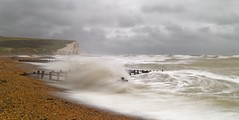 Milk and scissors (pauldunn52) Tags: sussex cuckmere seven sisters chalk cliffs wave long exposure