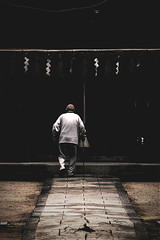 old man in the shrine (Sat Sue) Tags: olympus micro four thirds m43 penf japan fukuoka person