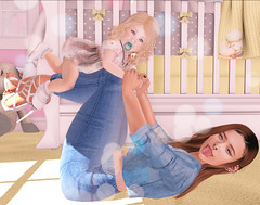 Sophie and Ember ([E}mber) Tags: mother daughter secondlife child blond brown jean crib cutedress pacifier jeans jacket yellow bright day