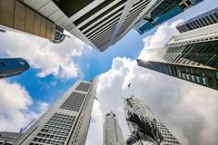 Skyward (kiwi photo lover) Tags: singapore republic rafflesplace skyscraper tower sun bird reflections blue sky clouds cumulus bankofsingapore uob bankofchina maybanktower 6batteryroadtower starlight
