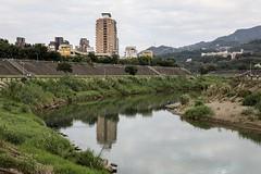 Daily walking (Liang Hung Ma) Tags: river walking evening sunday taipei 5dmark4 reflection green fishingman trees building