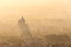 Mist and light (Massimo_Discepoli) Tags: city assisi church light sunrays mist fog moody sunset