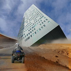 Damned ! The road is cut ! (Le.Patou) Tags: fz1000 montage photomontage architecture crash building effect trickery trucage perspective assembly trick desert quad orange blue hss square